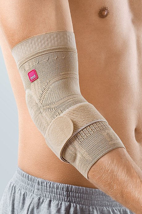 Epicomed® elbow supports with silicone support pads and tension strap, sand